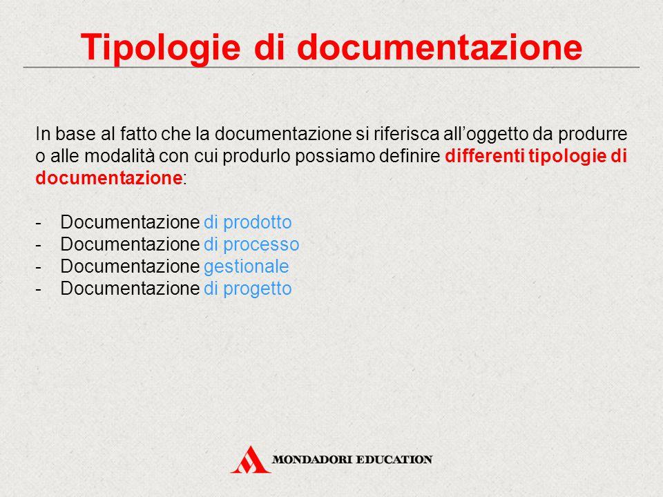 Tipologie di documentazione In base al fatto che la documentazione si riferisca all'oggetto da produrre o alle modalità con cui produrlo possiamo defi