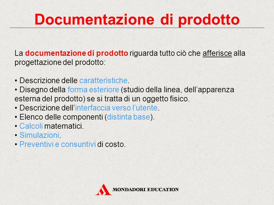 Documentazione di prodotto La documentazione di prodotto riguarda tutto ciò che afferisce alla progettazione del prodotto: Descrizione delle caratteristiche.
