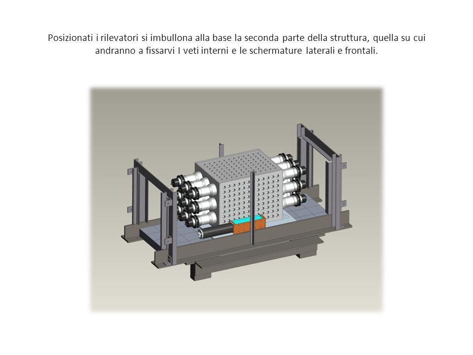 Gli scintillatori che compongono i veti laterali e frontali vengono inseriti in apposite guide fissate alla struttura.