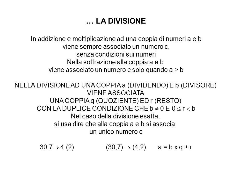 … LA DIVISIONE In addizione e moltiplicazione ad una coppia di numeri a e b viene sempre associato un numero c, senza condizioni sui numeri Nella sott