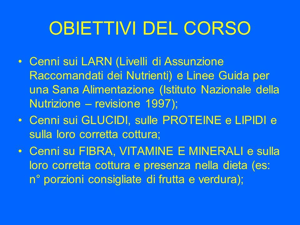 OBIETTIVI DEL CORSO Cenni sui LARN (Livelli di Assunzione Raccomandati dei Nutrienti) e Linee Guida per una Sana Alimentazione (Istituto Nazionale del
