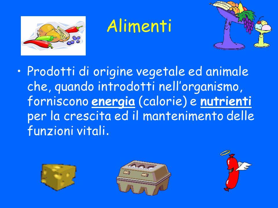 Alimenti Prodotti di origine vegetale ed animale che, quando introdotti nell'organismo, forniscono energia (calorie) e nutrienti per la crescita ed il