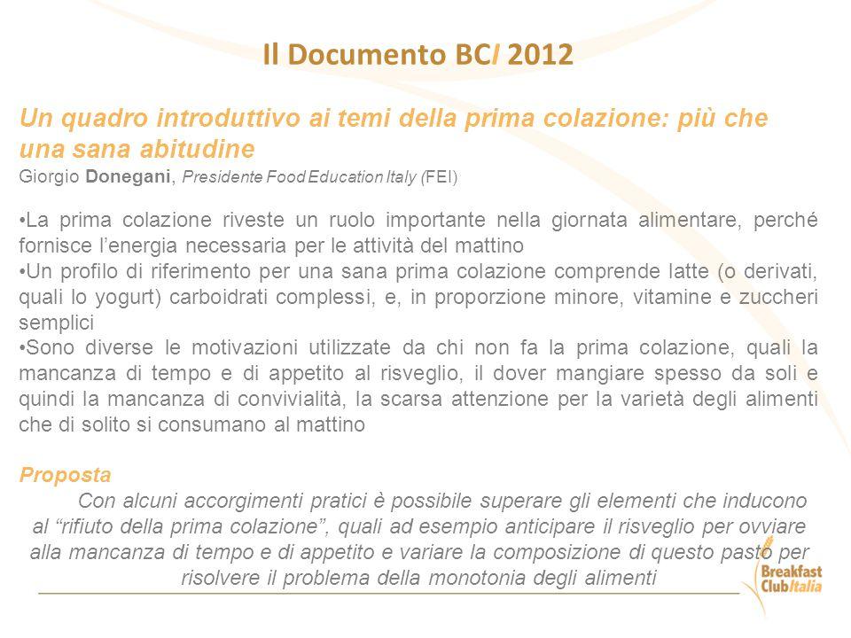 Il Documento BCI 2012 Un quadro introduttivo ai temi della prima colazione: più che una sana abitudine Giorgio Donegani, Presidente Food Education Ita