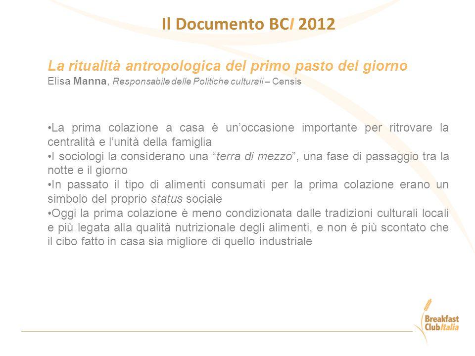 Il Documento BCI 2012 La ritualità antropologica del primo pasto del giorno Elisa Manna, Responsabile delle Politiche culturali – Censis La prima cola