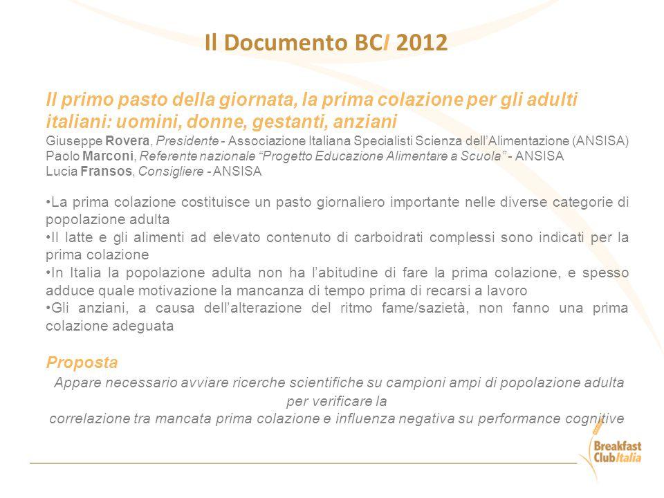 Il Documento BCI 2012 Il primo pasto della giornata, la prima colazione per gli adulti italiani: uomini, donne, gestanti, anziani Giuseppe Rovera, Pre