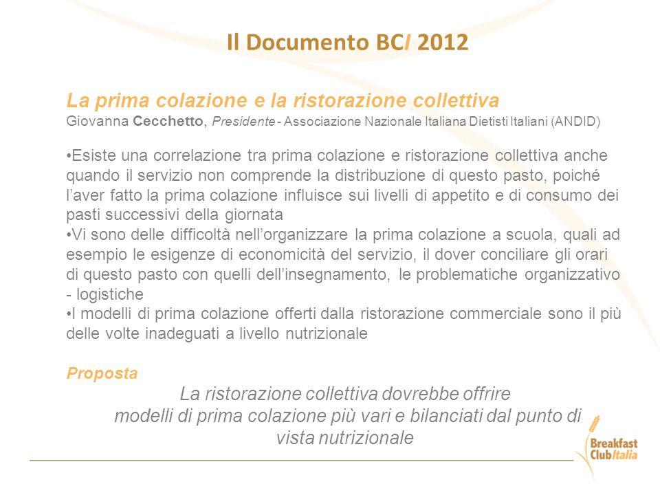 Il Documento BCI 2012 La prima colazione e la ristorazione collettiva Giovanna Cecchetto, Presidente - Associazione Nazionale Italiana Dietisti Italia