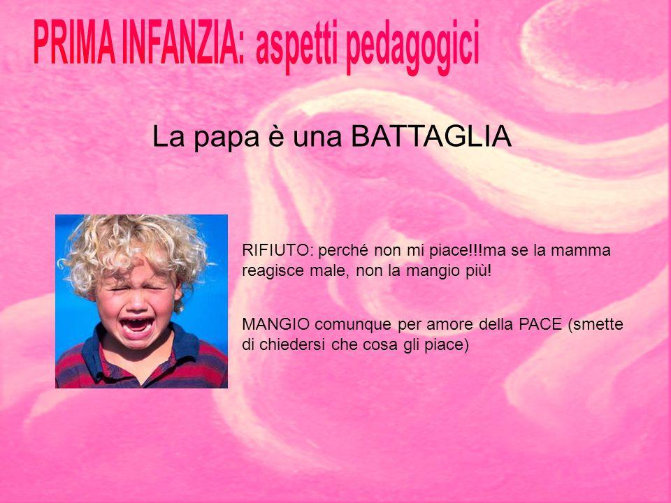 La papa è una BATTAGLIA RIFIUTO: perché non mi piace!!!ma se la mamma reagisce male, non la mangio più! MANGIO comunque per amore della PACE (smette d