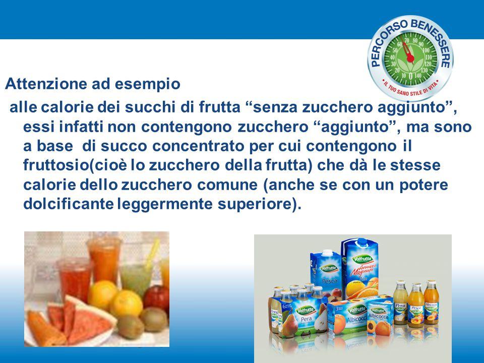 """Attenzione ad esempio alle calorie dei succhi di frutta """"senza zucchero aggiunto"""", essi infatti non contengono zucchero """"aggiunto"""", ma sono a base di"""