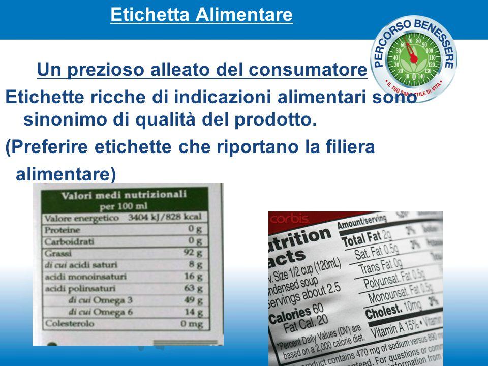 Etichetta Alimentare Un prezioso alleato del consumatore Etichette ricche di indicazioni alimentari sono sinonimo di qualità del prodotto. (Preferire