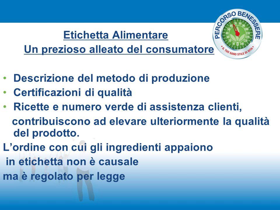Etichetta Alimentare Un prezioso alleato del consumatore Descrizione del metodo di produzione Certificazioni di qualità Ricette e numero verde di assi