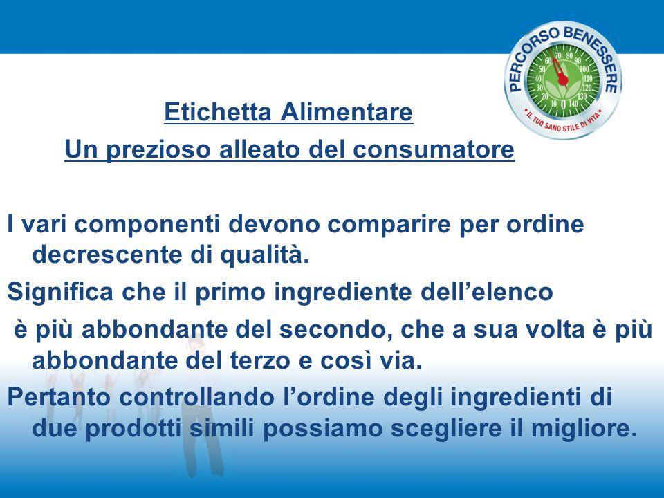 Etichetta Alimentare Un prezioso alleato del consumatore I vari componenti devono comparire per ordine decrescente di qualità. Significa che il primo