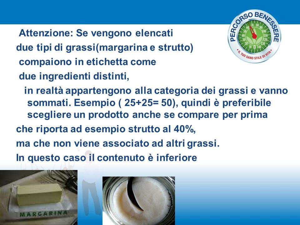 Attenzione: Se vengono elencati due tipi di grassi(margarina e strutto) compaiono in etichetta come due ingredienti distinti, in realtà appartengono a