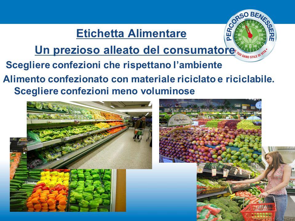 Etichetta Alimentare Un prezioso alleato del consumatore Scegliere confezioni che rispettano l'ambiente Alimento confezionato con materiale riciclato