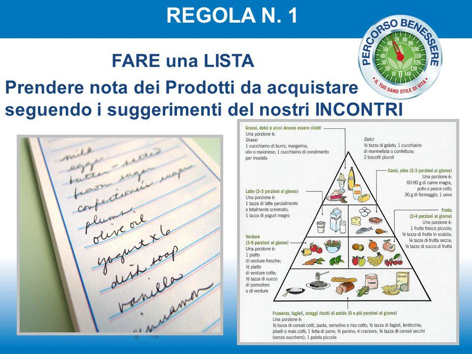 REGOLA N. 1 FARE una LISTA Prendere nota dei Prodotti da acquistare seguendo i suggerimenti del nostri INCONTRI