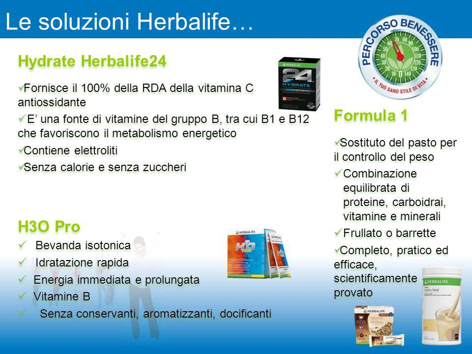 Le soluzioni Herbalife… Hydrate Herbalife24 Fornisce il 100% della RDA della vitamina C antiossidante E' una fonte di vitamine del gruppo B, tra cui B