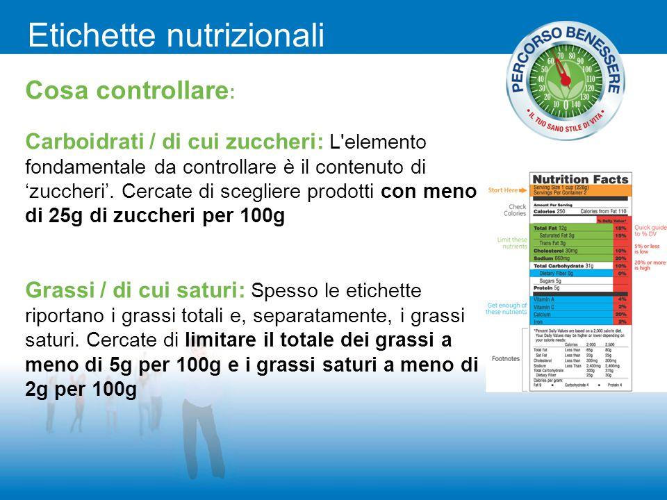Etichette nutrizionali Cosa controllare : Carboidrati / di cui zuccheri: L'elemento fondamentale da controllare è il contenuto di 'zuccheri'. Cercate