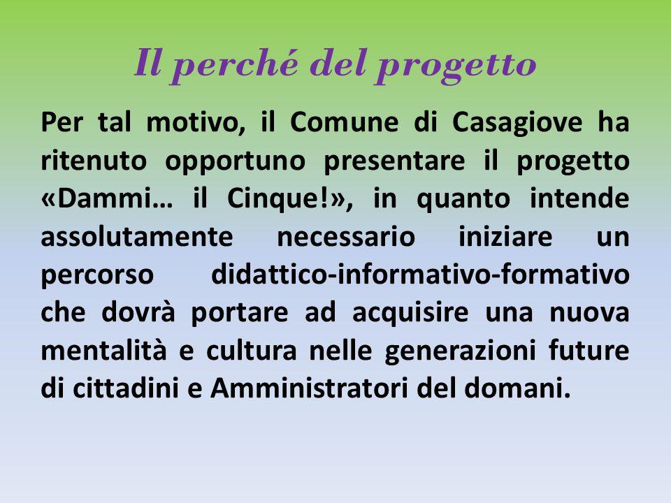Il perché del progetto Per tal motivo, il Comune di Casagiove ha ritenuto opportuno presentare il progetto «Dammi… il Cinque!», in quanto intende asso