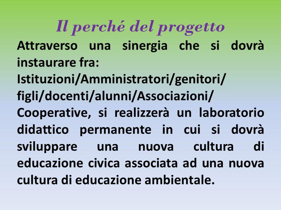Il perché del progetto Attraverso una sinergia che si dovrà instaurare fra: Istituzioni/Amministratori/genitori/ figli/docenti/alunni/Associazioni/ Co