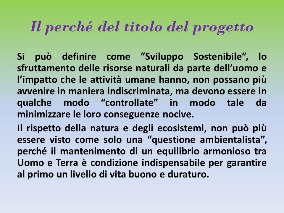 """Il perché del titolo del progetto Si può definire come """"Sviluppo Sostenibile"""", lo sfruttamento delle risorse naturali da parte dell'uomo e l'impatto c"""