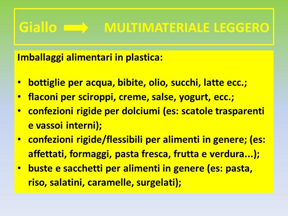 Giallo MULTIMATERIALE LEGGERO Imballaggi alimentari in plastica: bottiglie per acqua, bibite, olio, succhi, latte ecc.; flaconi per sciroppi, creme, s
