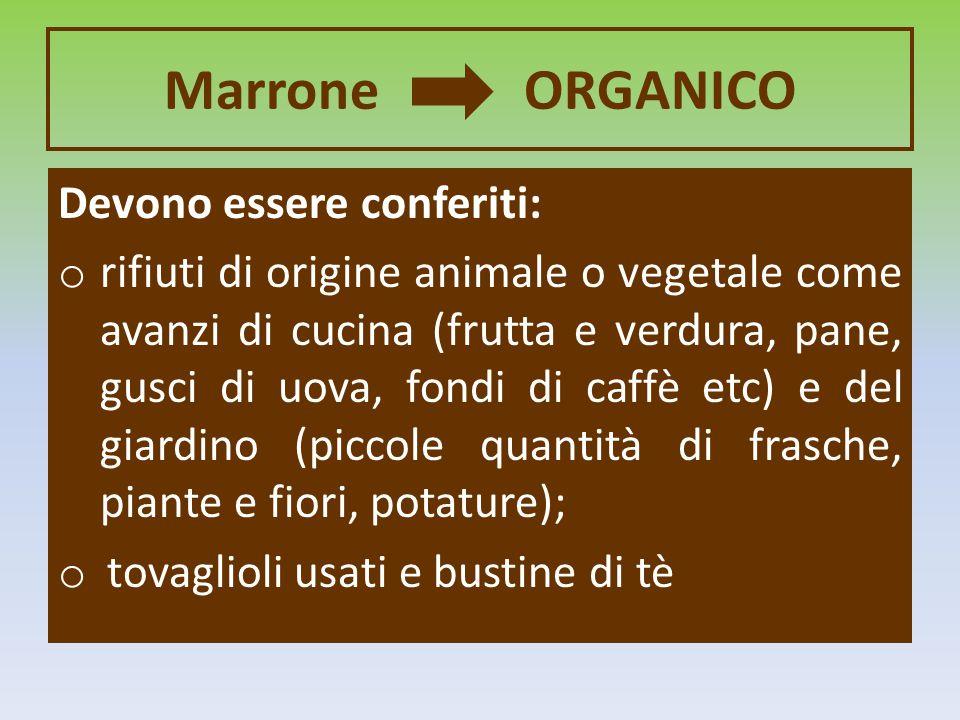 Marrone ORGANICO Devono essere conferiti: o rifiuti di origine animale o vegetale come avanzi di cucina (frutta e verdura, pane, gusci di uova, fondi