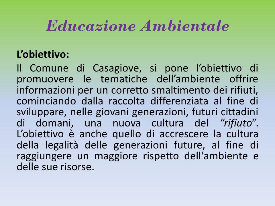 Educazione Ambientale L'obiettivo: Il Comune di Casagiove, si pone l'obiettivo di promuovere le tematiche dell'ambiente offrire informazioni per un co