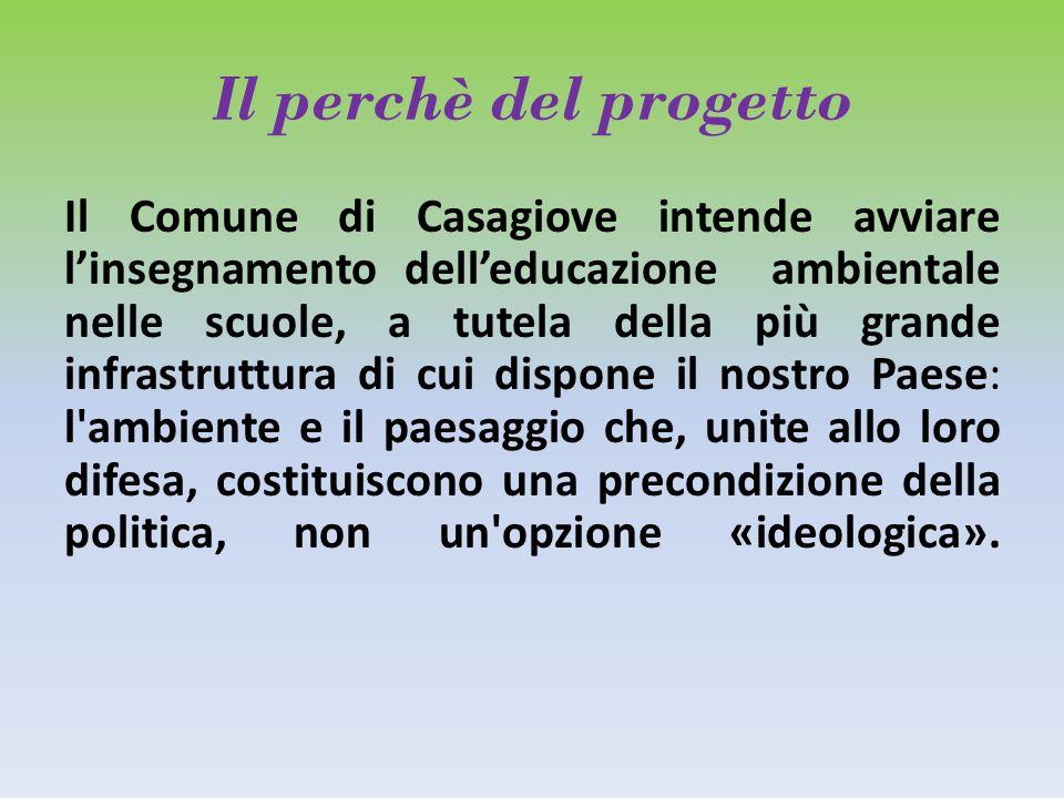 Il perchè del progetto Il Comune di Casagiove intende avviare l'insegnamento dell'educazione ambientale nelle scuole, a tutela della più grande infras