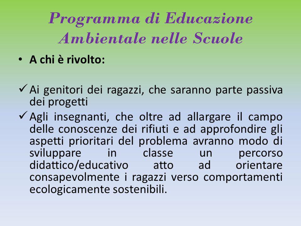 Programma di Educazione Ambientale nelle Scuole A chi è rivolto: Ai genitori dei ragazzi, che saranno parte passiva dei progetti Agli insegnanti, che