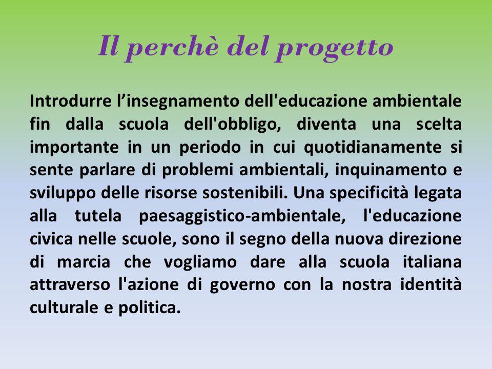 Il perchè del progetto Per questo motivo è fondamentale coinvolgere il sistema scolastico nell educazione ambientale, non soltanto attraverso corsi facoltativi esterni alle scuole.