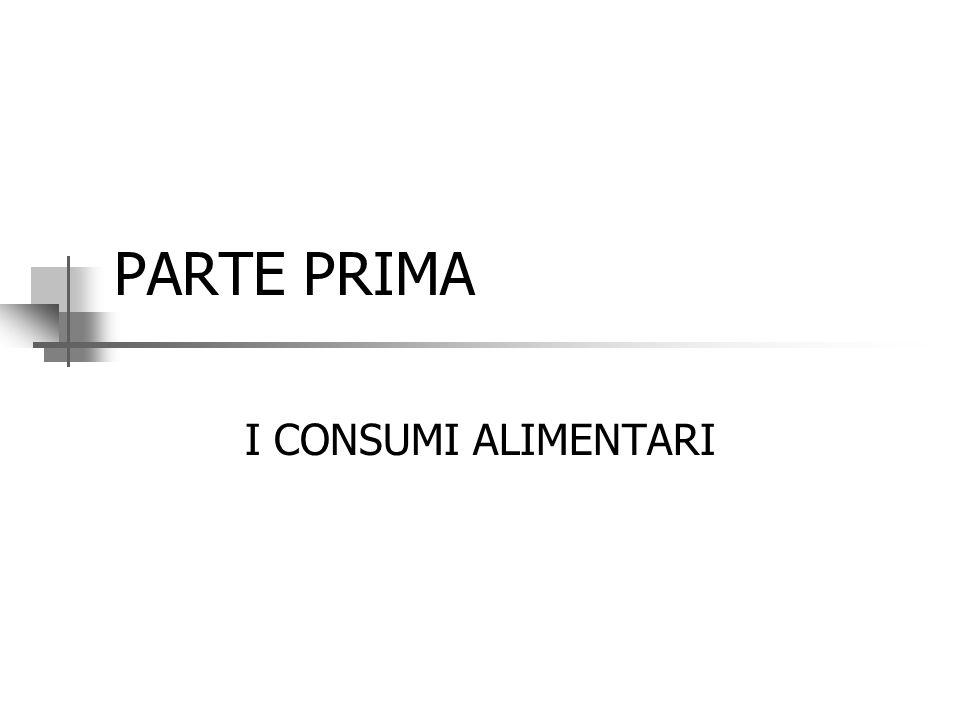 PARTE PRIMA I CONSUMI ALIMENTARI