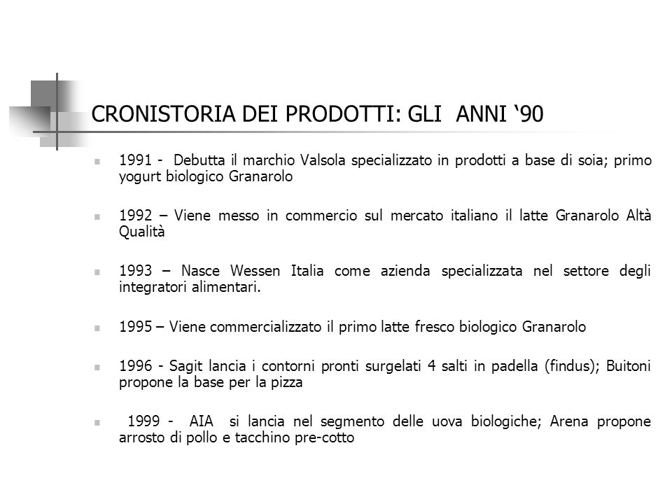 CRONISTORIA DEI PRODOTTI: GLI ANNI '80 1981 – Viene lanciata la vaschetta termoformata per la pasta fresca;la Ferrero produce Rocher; 1982 – Vengono l