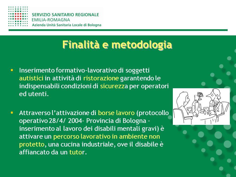 Finalità e metodologia  Inserimento formativo-lavorativo di soggetti autistici in attività di ristorazione garantendo le indispensabili condizioni di sicurezza per operatori ed utenti.