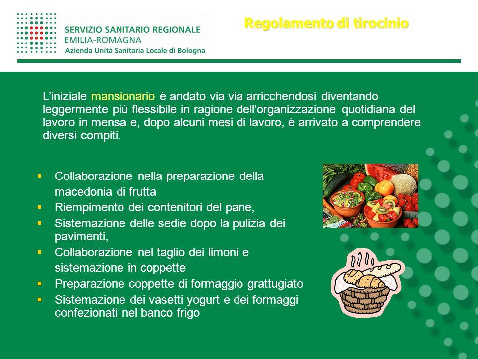 Collaborazione nella preparazione della macedonia di frutta  Riempimento dei contenitori del pane,  Sistemazione delle sedie dopo la pulizia dei p