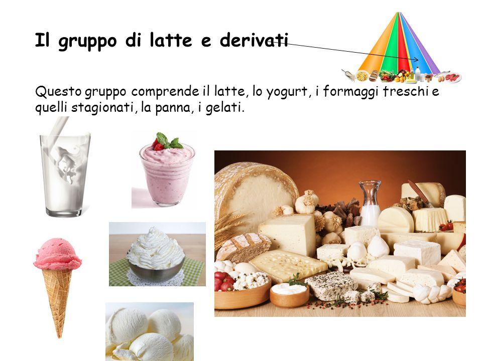 Il gruppo di latte e derivati Questo gruppo comprende il latte, lo yogurt, i formaggi freschi e quelli stagionati, la panna, i gelati.