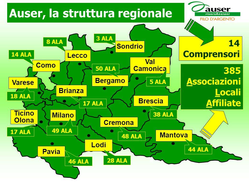 Auser, la struttura regionale 8 ALA 14 Comprensori Bergamo Brescia Mantova Lodi Pavia Milano Varese Lecco Val Camonica Como 5 ALA Ticino Olona Brianza 44 ALA 28 ALA 46 ALA 17 ALA 18 ALA 49 ALA 17 ALA 14 ALA Sondrio 3 ALA Cremona 48 ALA 38 ALA 50 ALA 385 Associazioni Locali Affiliate