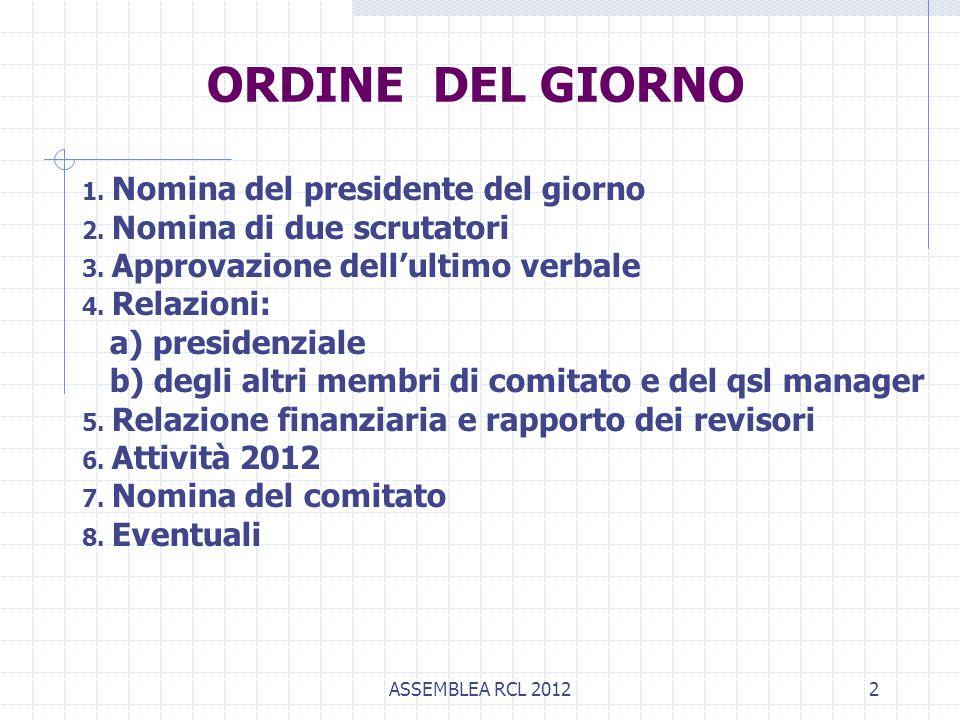 ASSEMBLEA RCL 20122 ORDINE DEL GIORNO 1. Nomina del presidente del giorno 2. Nomina di due scrutatori 3. Approvazione dell'ultimo verbale 4. Relazioni