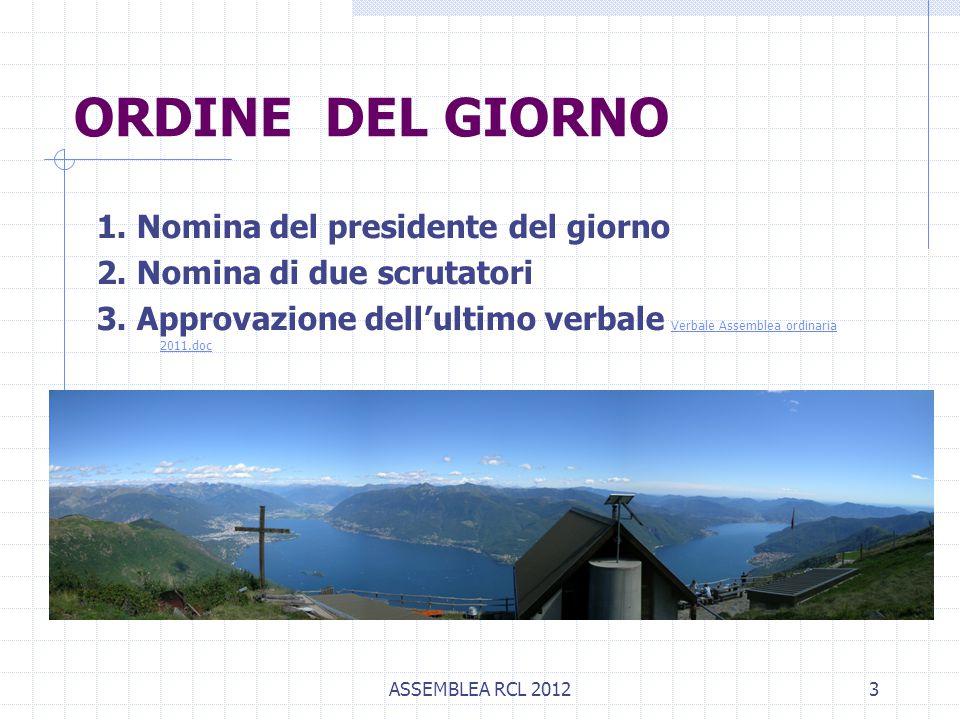 ASSEMBLEA RCL 20123 ORDINE DEL GIORNO 1. Nomina del presidente del giorno 2. Nomina di due scrutatori 3. Approvazione dell'ultimo verbale Verbale Asse