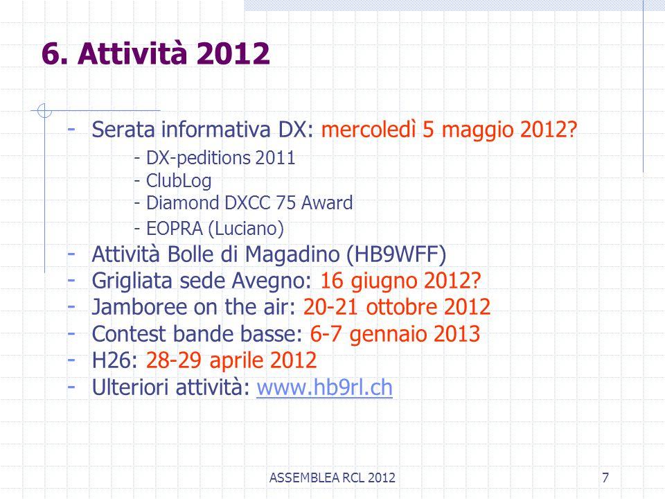 ASSEMBLEA RCL 20127 - Serata informativa DX: mercoledì 5 maggio 2012? - DX-peditions 2011 - ClubLog - Diamond DXCC 75 Award - EOPRA (Luciano) - Attivi