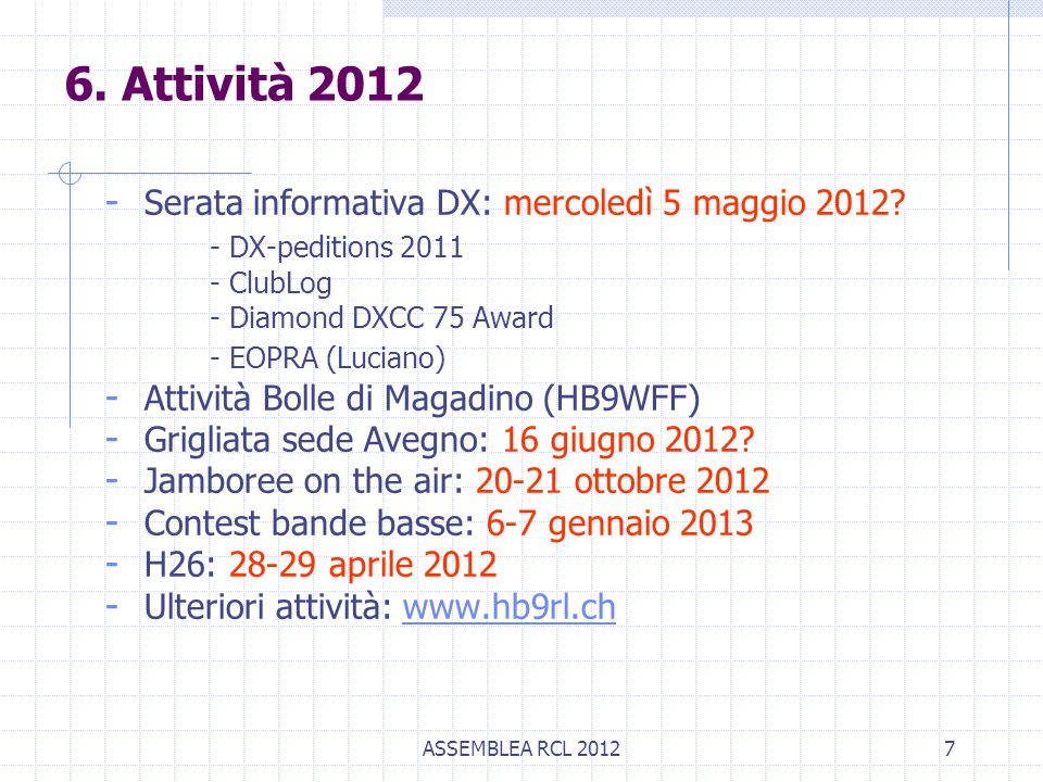 ASSEMBLEA RCL 20127 - Serata informativa DX: mercoledì 5 maggio 2012.
