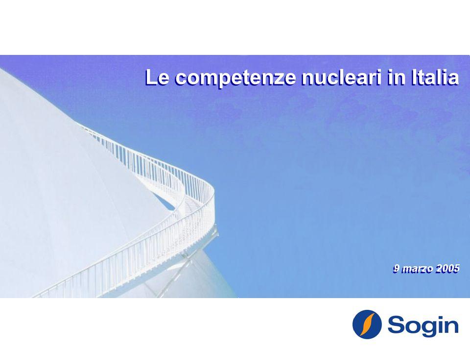 Le competenze nucleari in Italia 9 marzo 2005 Le competenze nucleari in Italia 9 marzo 2005