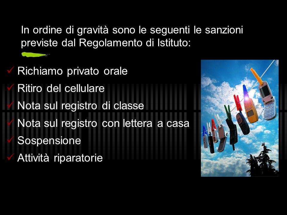 In ordine di gravità sono le seguenti le sanzioni previste dal Regolamento di Istituto: Richiamo privato orale Ritiro del cellulare Nota sul registro