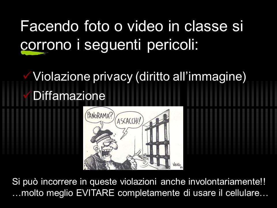 Facendo foto o video in classe si corrono i seguenti pericoli: Violazione privacy (diritto all'immagine) Diffamazione Si può incorrere in queste viola