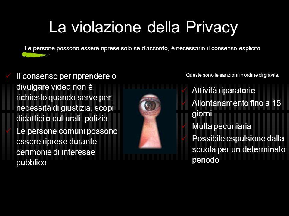 La violazione della Privacy Il consenso per riprendere o divulgare video non è richiesto quando serve per: necessità di giustizia, scopi didattici o c