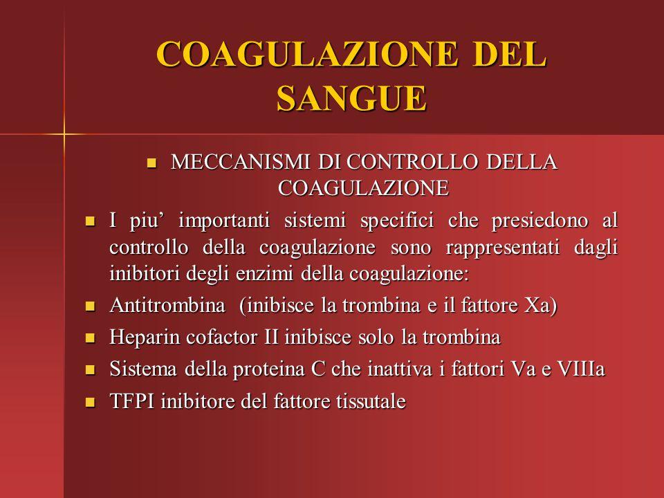 MECCANISMI DI CONTROLLO DELLA COAGULAZIONE MECCANISMI DI CONTROLLO DELLA COAGULAZIONE I piu' importanti sistemi specifici che presiedono al controllo