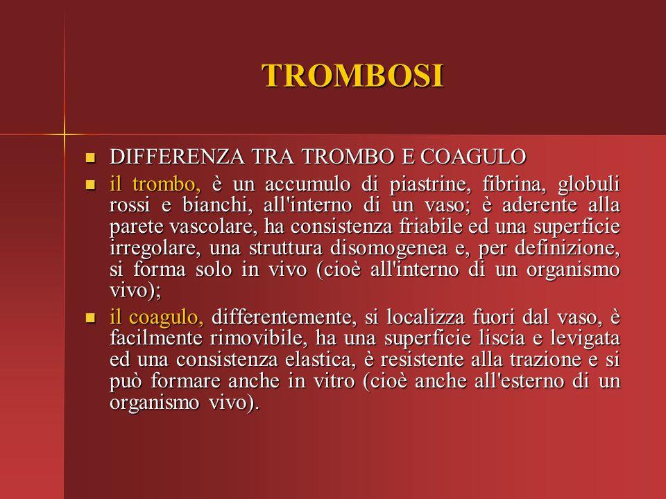 TROMBOSI DIFFERENZA TRA TROMBO E COAGULO DIFFERENZA TRA TROMBO E COAGULO il trombo, è un accumulo di piastrine, fibrina, globuli rossi e bianchi, all'