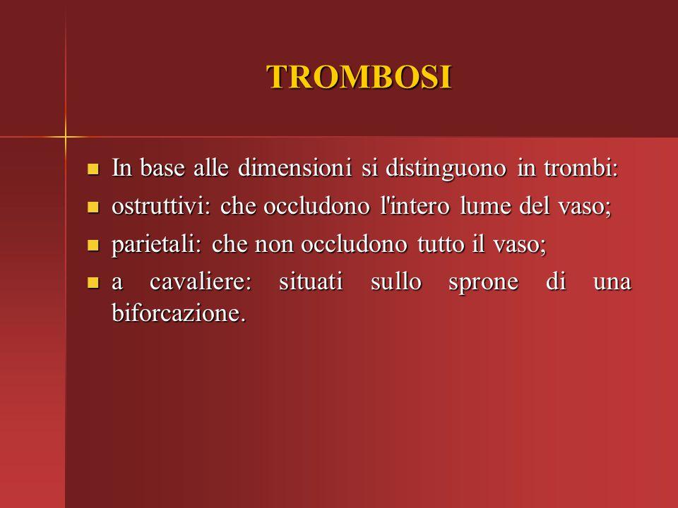 TROMBOSI In base alle dimensioni si distinguono in trombi: In base alle dimensioni si distinguono in trombi: ostruttivi: che occludono l'intero lume d