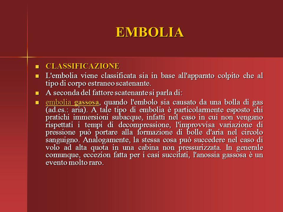 EMBOLIA CLASSIFICAZIONE CLASSIFICAZIONE L'embolia viene classificata sia in base all'apparato colpito che al tipo di corpo estraneo scatenante. L'embo
