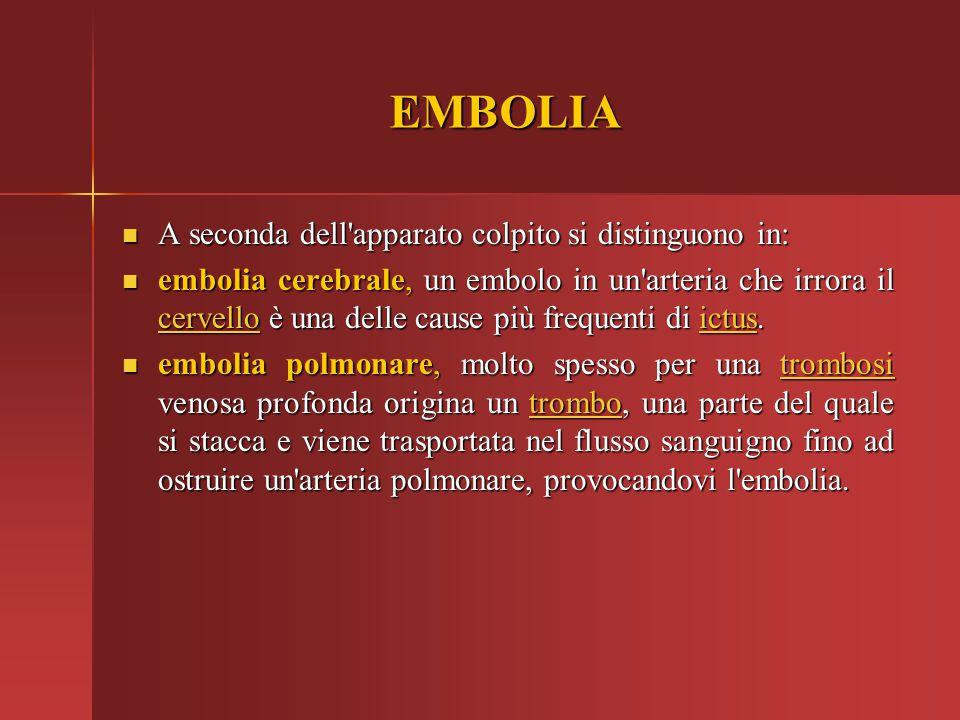 EMBOLIA A seconda dell'apparato colpito si distinguono in: A seconda dell'apparato colpito si distinguono in: embolia cerebrale, un embolo in un'arter
