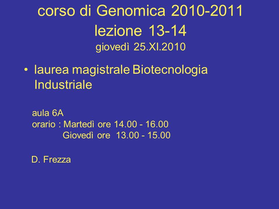 corso di Genomica 2010-2011 lezione 13-14 giovedì 25.XI.2010 laurea magistrale Biotecnologia Industriale aula 6A orario : Martedì ore 14.00 - 16.00 Gi