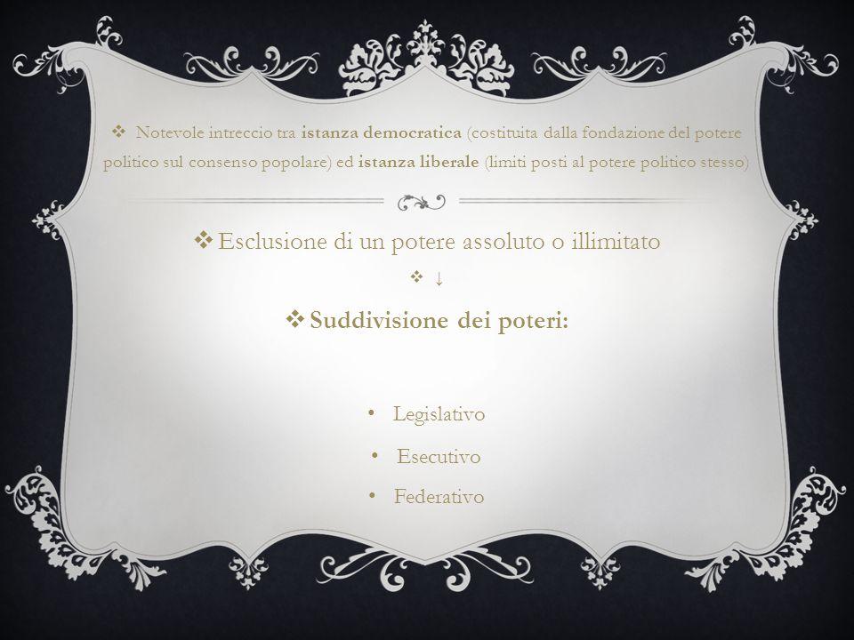  Notevole intreccio tra istanza democratica (costituita dalla fondazione del potere politico sul consenso popolare) ed istanza liberale (limiti posti